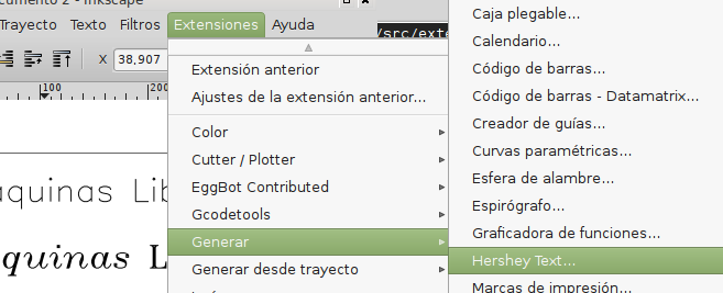 Elegir la extensión para escibir texto