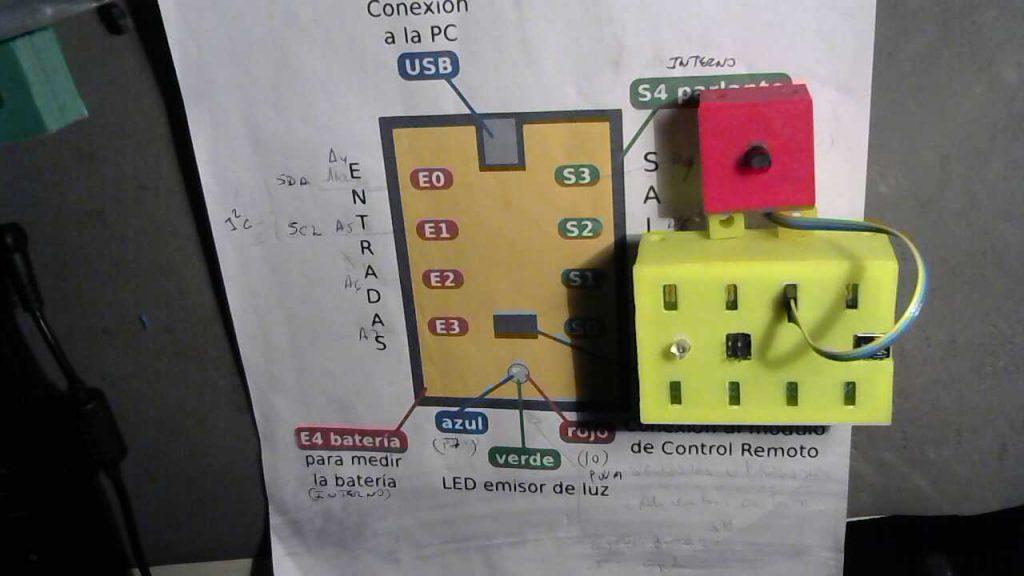 Se observa en la foto el Qudino, conectado a la perilla en la entrada E2, el programa debe respetar esta conexión